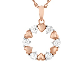 Moissanite 14k rose gold over sterling silver circle and heart pendant .96ctw DEW