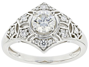 Moissanite platineve vintage style ring .88ctw DEW