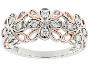 Moissanite platineve and 14k rose gold over sterling silver ring .36ctw DEW