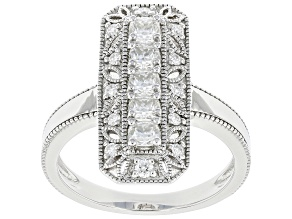 Moissanite platineve vintage style ring .81ctw DEW