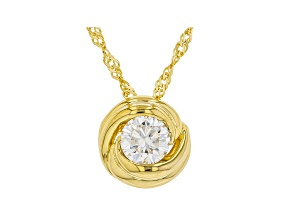 Moissanite 14k yellow gold over sterling silver solitaire pendant .60ct DEW