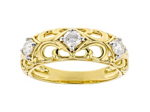 Moissanite 14k yellow gold over sterling silver 3 stone ring .48ctw DEW