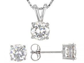 Moissanite Platineve Earrings And Pendant Jewelry Set 3.00ctw DEW