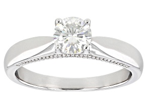 Moissanite Platineve Solitaire Ring .60ct DEW