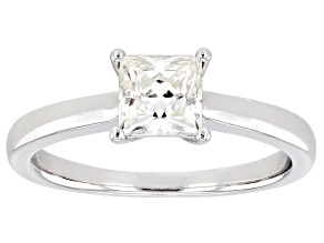 Moissanite Platineve Solitaire Ring .90ct DEW