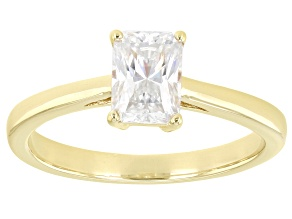 Moissanite 14k yellow gold over sterling silver solitaire ring 1.20ct DEW