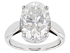 Moissanite Platineve Solitaire Ring 7.22ct DEW