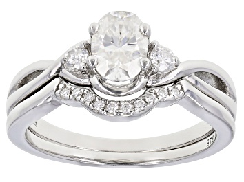 Picture of Moissanite Platineve ring with band 1.12ctw DEW