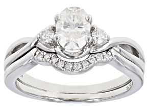 Moissanite Platineve ring with band 1.12ctw DEW