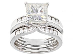 Moissanite Platineve ring with two bands 2.98ctw DEW