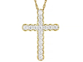 Moissanite 14k yellow gold over sterling silver cross pendant .96ctw DEW