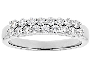 Moissanite Platineve Band Ring .51ctw DEW