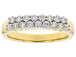 Moissanite 14k Yellow Gold Over Silver Ring .51ctw DEW