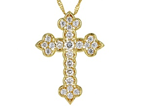 Moissanite 14k yellow Gold Over Sterling Silver Cross Pendant 1.73ctw DEW