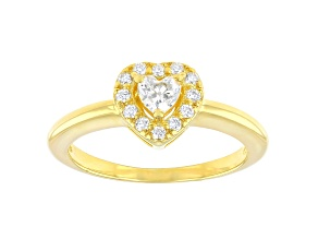 Moissanite 14k yellow gold over silver heart shape promise ring .35ctw DEW