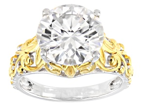 Moissanite Platineve And 14k Yellow Gold Over  Silver Solitaire ring 4.75ct DEW