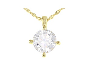 Moissanite 14k yellow Gold Over Sterling Silver Solitaire Pendant 4.75ct DEW