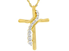 Moissanite 14k Yellow Gold Over Sterling Silver Cross Pendant .46ctw DEW.