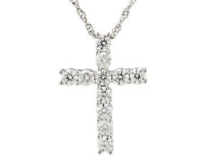 Moissanite Platineve Cross Pendant 1.10ctw DEW