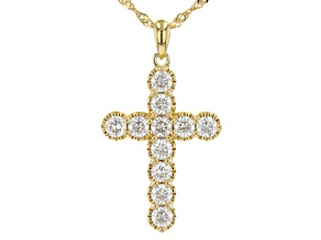 Moissanite 14k yellow gold over sterling silver cross pendant 1.76ctw DEW