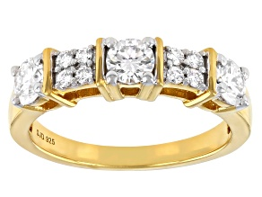 Moissanite 14k Yellow Gold Over Band Ring .85ctw D.E.W