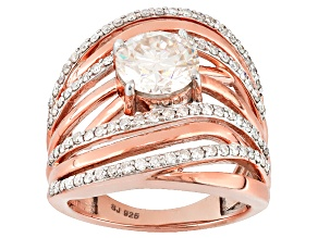 Moissanite 14k Rose Gold Over Silver Ring 2.78ctw DEW