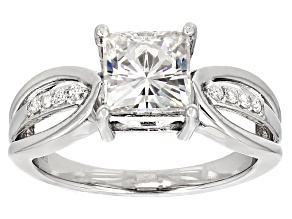 Moissanite Fire Ring Platineve™ 2.18ctw DEW