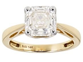 Moissanite 14k Yellow Gold Ring 2.96ctw DEW