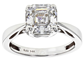 Moissanite 14k White Gold Ring 2.96ct DEW.