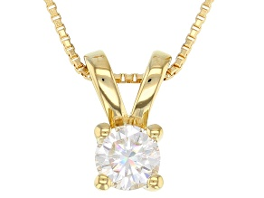 Moissanite 14k yellow gold over sterling silver pendant .50ct DEW.
