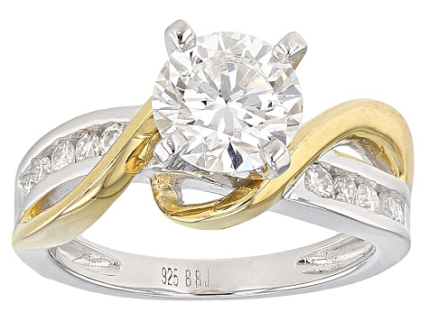Moissanite Platineve Two Tone Ring 1.74ctw D.E.W
