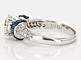 Moissanite And Blue Sapphire Platineve Ring 1.46ctw D.E.W