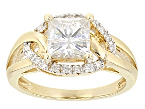 Moissanite 14k Yellow Gold Over Silver Ring 2.28ctw DEW