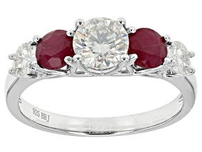 Moissanite And Ruby Platineve Ring 1.46ctw DEW