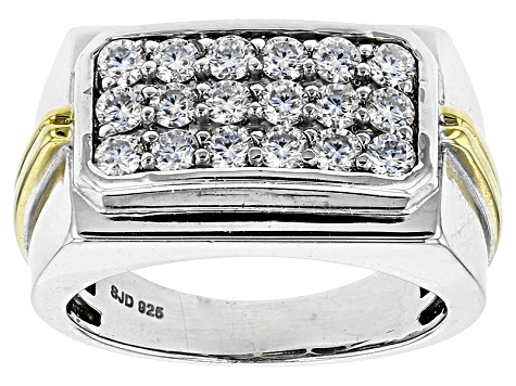 Moissanite Fire® 1.08ctw DEW Platineve™ And 14k Yellow Gold Over Platineve Gents Ring