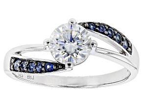 Moissanite And Blue Sapphire Platineve Ring 1.20ct DEW.