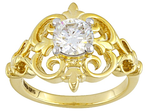 Moissanite 14k Yellow Gold Over Silver Ring .80ctw DEW