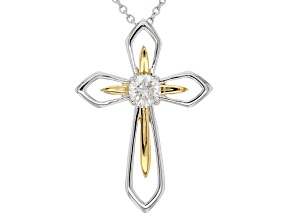 Moissanite Platineve™ and 14k yellow gold accent over Platineve™ pendant .60ct DEW.