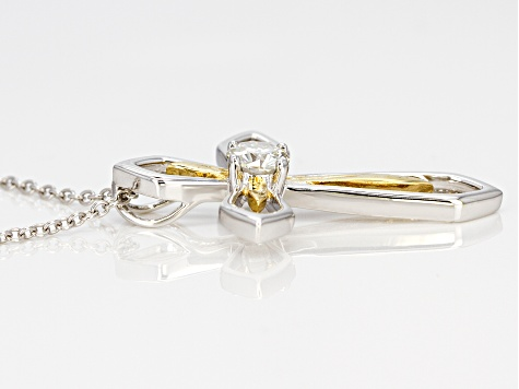 Moissanite Platineve and 14k yellow gold over Platineve pendant .60ct DEW.