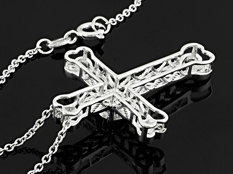Moissanite Platineve Cross Pendant .60ct D.E.W