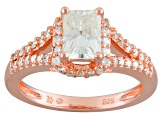 Moissanite 14k Rose Gold Over Platineve Ring 1.64ctw D.E.W