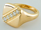 Moissanite 14k Yellow Gold Over Silver Unisex Ring .65ctw DEW