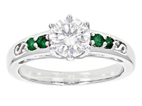 Moissanite And Emerald Platineve Ring 1.00ctw D.E.W