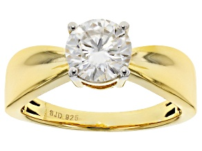 Moissanite Fire® 1.20ctw DEW Round 14k Yellow Gold Over Sterling Silver Ring