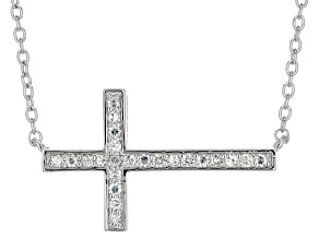 Moissanite Fire® .23ctw Diamond Equivalent Weight Round Platineve™ Cross Necklace
