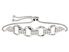 Moissanite Fire® 1.20ctw Diamond Equivalent Weight Round Platineve™ Adjustable Bolo Bracelet