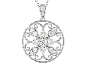 Moissanite Fire® 2.19ctw DEW Round And Heart Shape Platineve™ Pendant With Chain