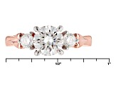 Moissanite Fire® 1.52ctw Diamond Equivalent Weight Round 14k Rose Over Sterling Silver Ring