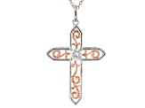 Moissanite Fire® .50ct DEW Platineve™ And 14k Rose Gold Over Platineve Pendant And Chain