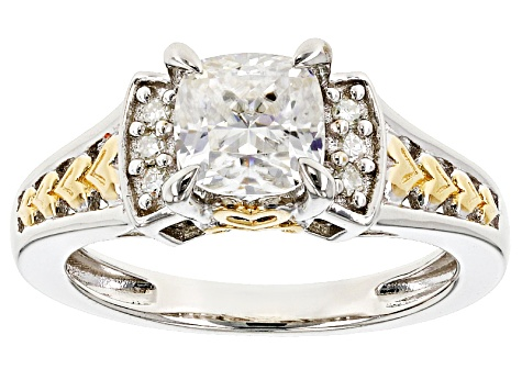 Moissanite Fire® 1.36ctw DEW Platineve™ And 14k Yellow Gold Accent Two Tone Ring